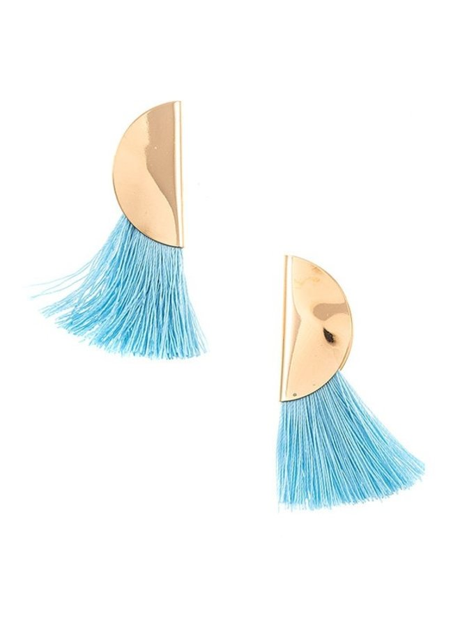 Light Blue Tassel Earrings