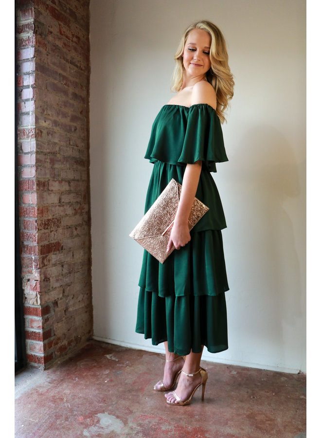 Off Shoulder Ruffled Dress