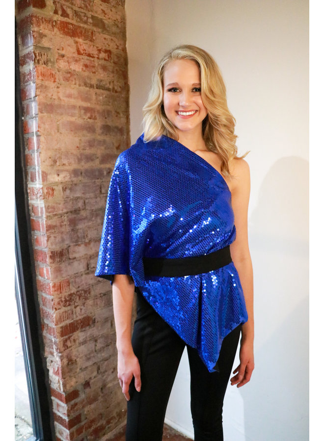 One Shoulder Sequined Poncho