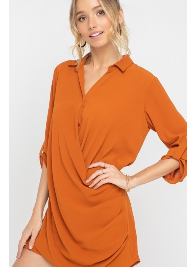 Rust Dress with Wrap