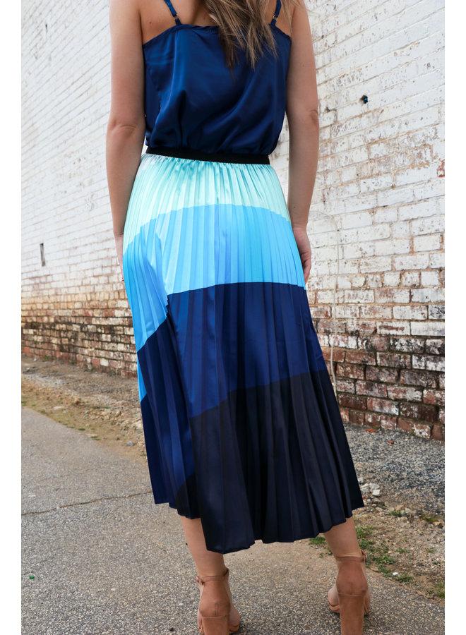 Multi Blue Midi Skirt