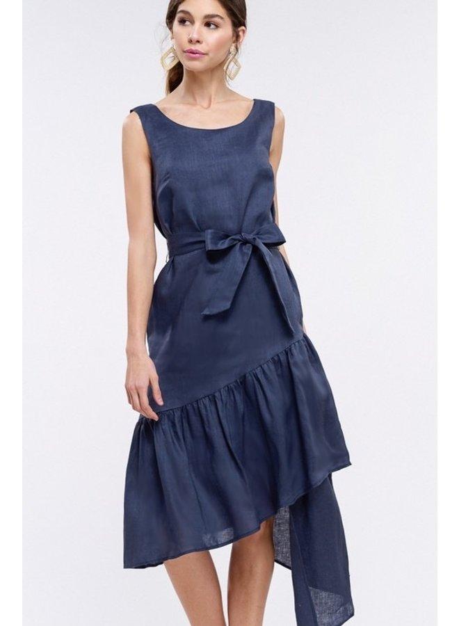 Blue Linen Layer Dress