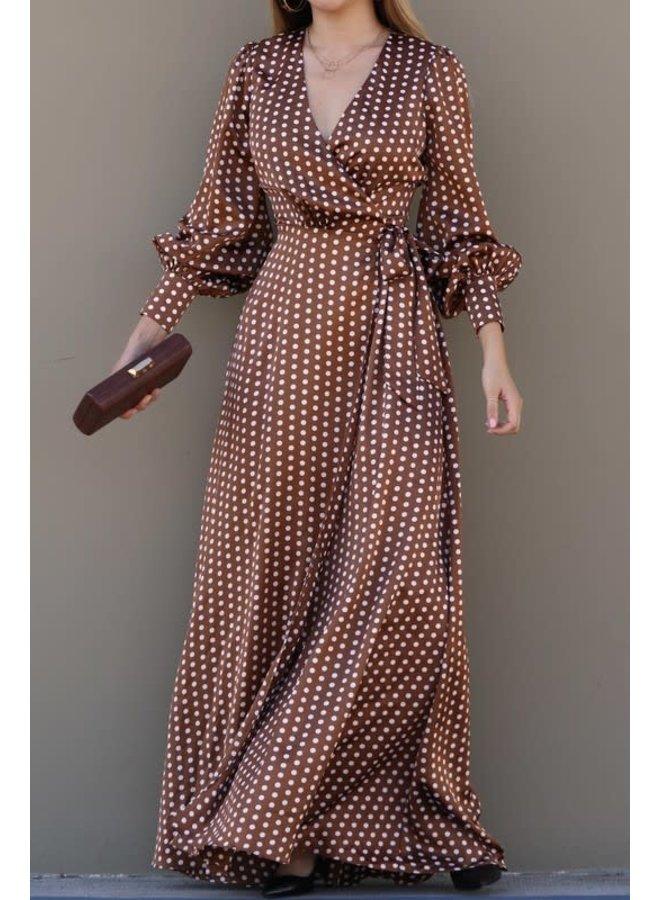 Brown polka dots wrap dress