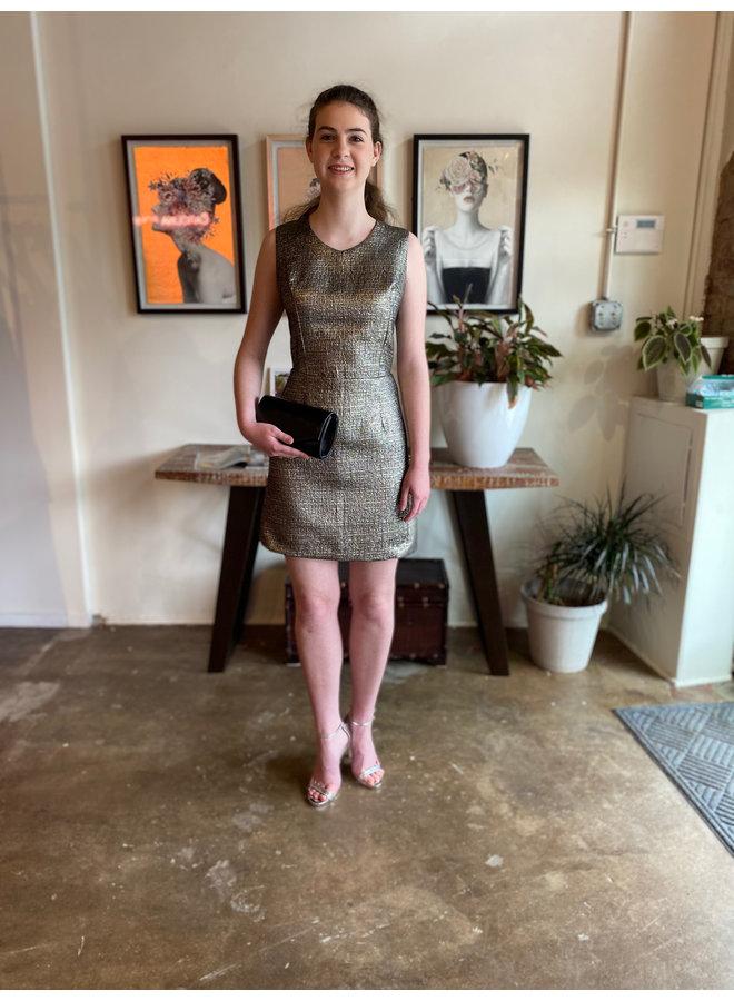 Metallic Short Dress with Open Back