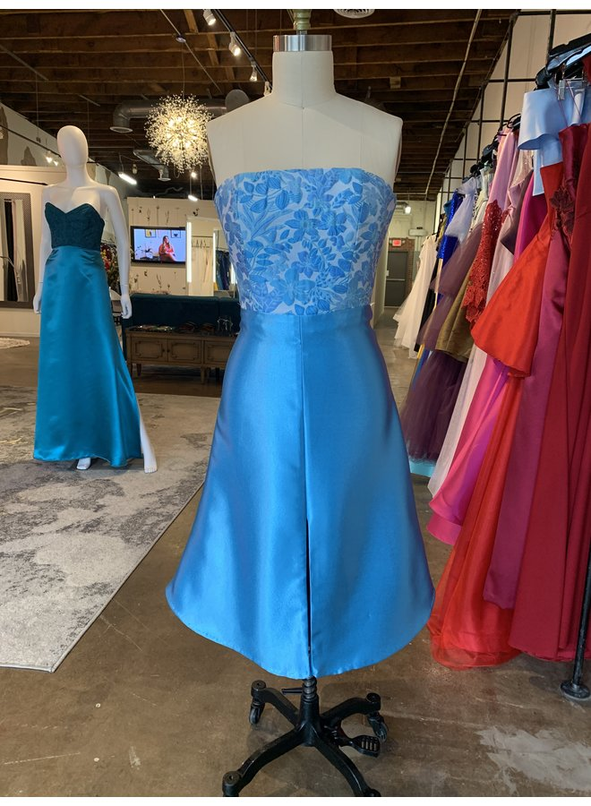 Brocade Blue Dress