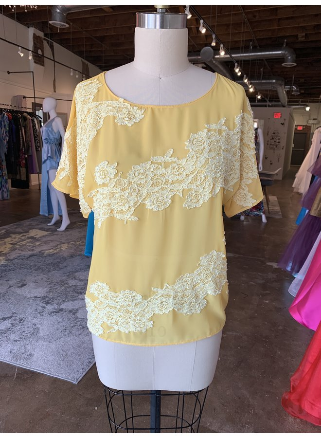 Yellow Blouse with Lace