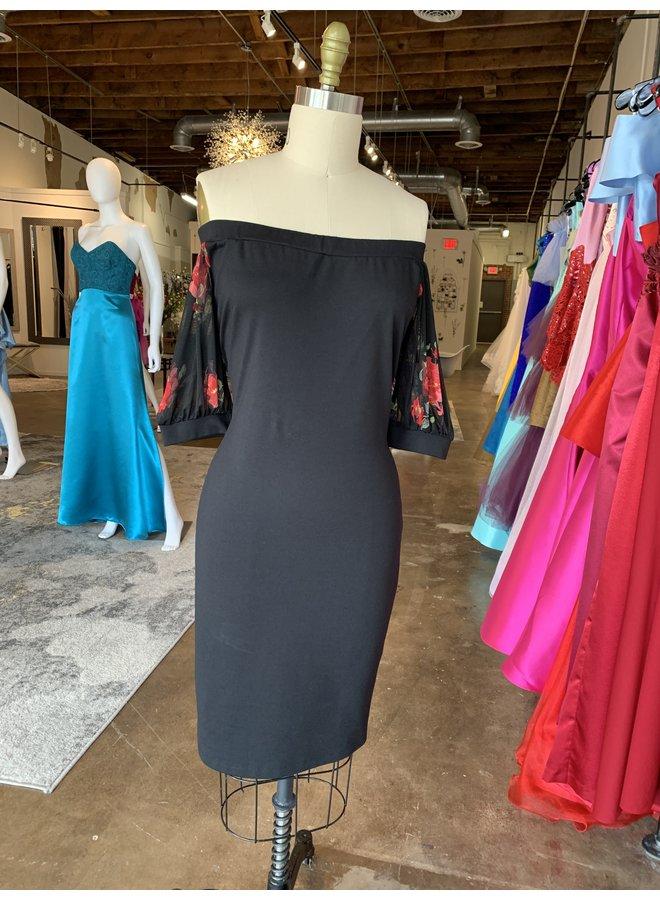 Off Shoulder W/Sheer Sleeve Dress