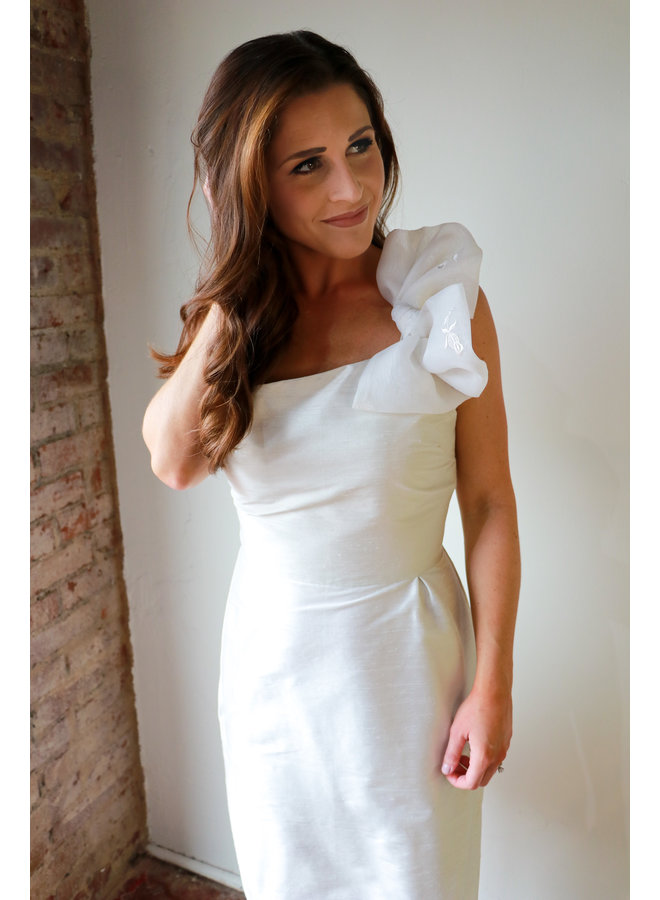 One Shoulder Short White Dress with Bow