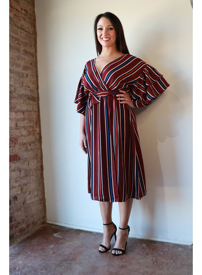 Midi Wrap Dress with Tiered Sleeves
