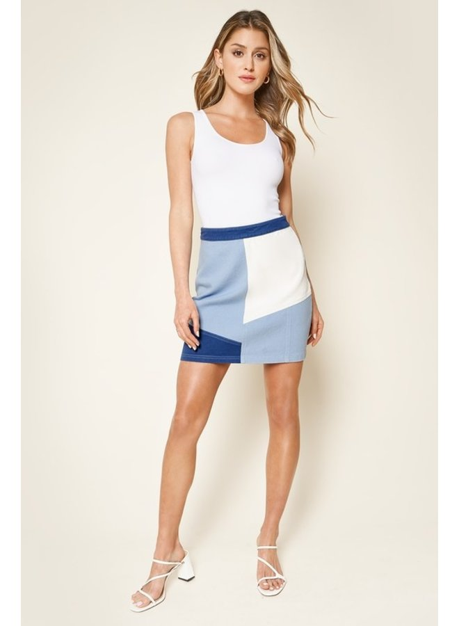 Color Block Denim Mini Skirt
