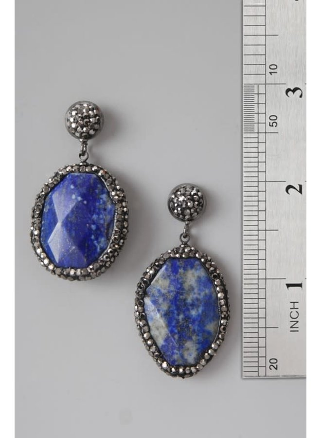 Amazonite Black Labradorite Earrings
