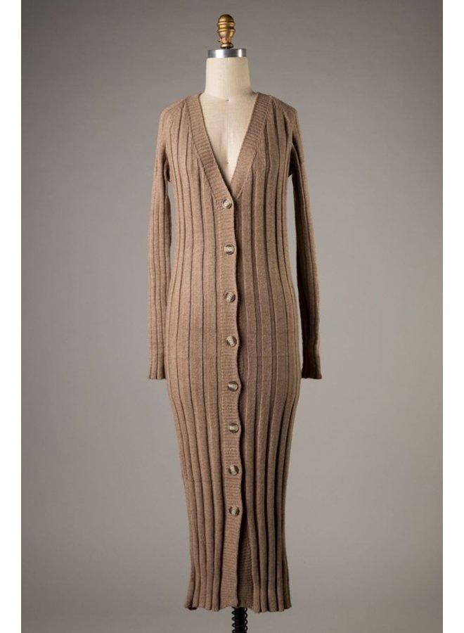 Knit Button Down Midi Dress