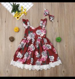 Sleeveless Lace Floral Dress W/Headband