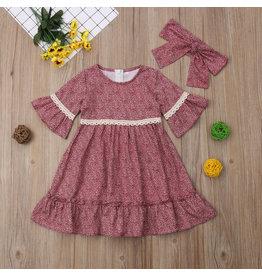 Boho Floral Lace Dress w/Headband