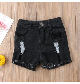 Girl's Black Denim Shorts