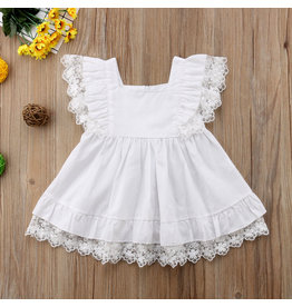 White Cotton & Lace Pinafore Dress