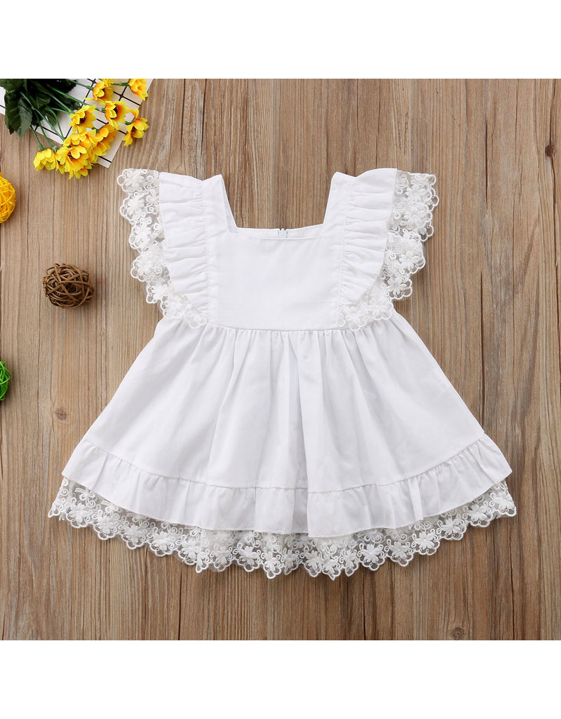 famous brand big selection of 2019 enjoy discount price White Cotton & Lace Pinafore Dress