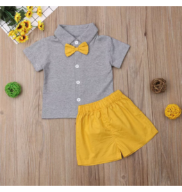 Boys Gray & Mustard Sibling Short Set
