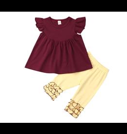 Yellow Icing Pants W/Wine Pearl Tunic