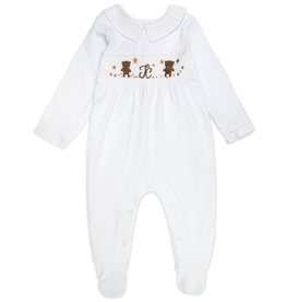 "Aurora Royal ""Kiss-Me, Teddy"" Embroidered Pima Cotton Babygrow & Matching Bib Set-Boys"