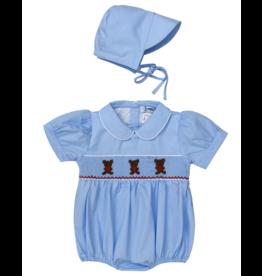"Aurora Royal ""Cherish"" Hand Smocked Baby Boy Romper w/Matching Hat"