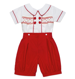 "Aurora Royal Red & White ""George"" Hand Smocked Buster Suit"
