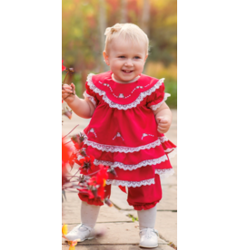"Aurora Royal ""Gorgeous Kathe"" Dark Red Lace & Embroidered Dress & Bloomer Set"