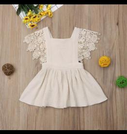 Ecru Gauze Pinafore Dress
