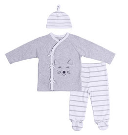 Asher and Olivia 3pc Baby Side Snap Outfit-Cat