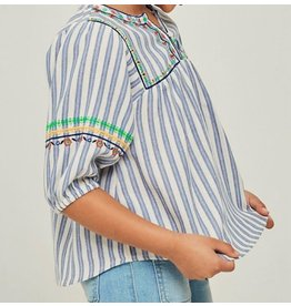 Hayden Los Angeles Striped Floral Embroidered Peasant Top