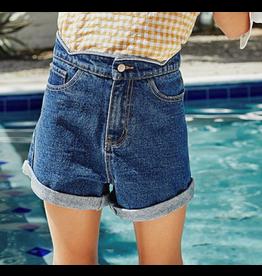 Hayden Los Angeles Scallop Roll Up Denim Shorts