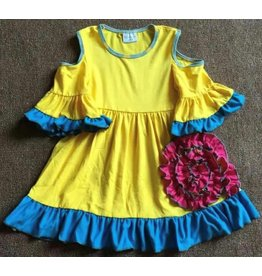 Yellow Dress w/Big Pink Flower