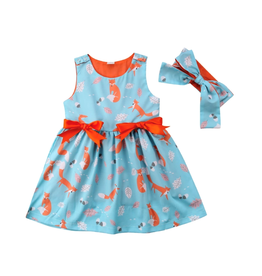 Fox Dress-Turquoise & Orange