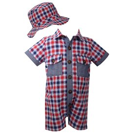 Matt's Scooter Red & Blue Plaid Romper w/Hat