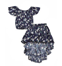 Bailey's Blossoms Isadora Navy Floral Skirt and Flutter Top