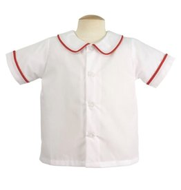 Remember Nguyen Red Piped Short Sleeve Shirt-Boys