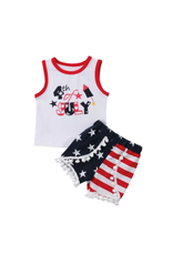 4th of July Short Set w/Stars & Stripe Pom Pom Shorts