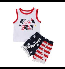 4th of July Short Set w/Stars & Stripe Pom Pom Shorts
