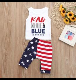 Rad White & Blue Short Set
