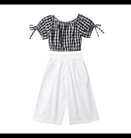 White Pants w/Black Gingham Top