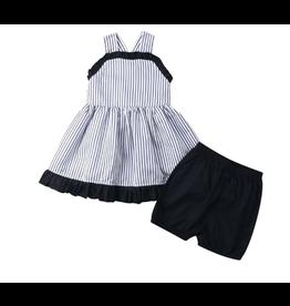 Stripe Top w/Tie Back Short Set