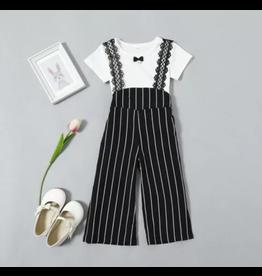 Black Stripe Jumpsuit w/White Top