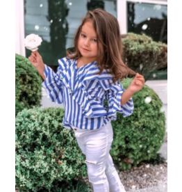 White Distressed Pants w/Long Sleeve Blue Stripe Ruffle Shirt