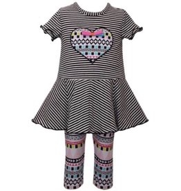 Bonnie Jean Bonnie Jean Black Stripe Tribal Heart 2pc