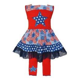 Ann Loren Patriotic Stars & Stripes Dress/Capri Outfit