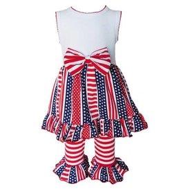 Ann Loren 4th of July Stars & Stripes Capri Outfit