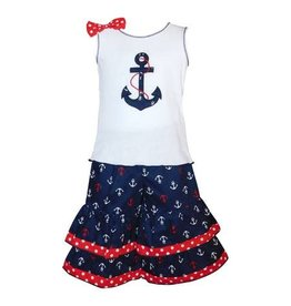 Ann Loren Sailor Girls Nautical Anchor Tank & Capris