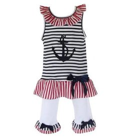 Ann Loren Girl's Cotton Patriotic Sailor Outfit