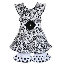 Ann Loren Black & White Damask Tunic & Shorts Set