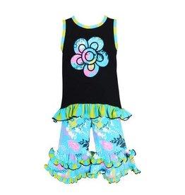 Ann Loren Spring Butterfly Floral Hi-Low Tunic & Capri Set